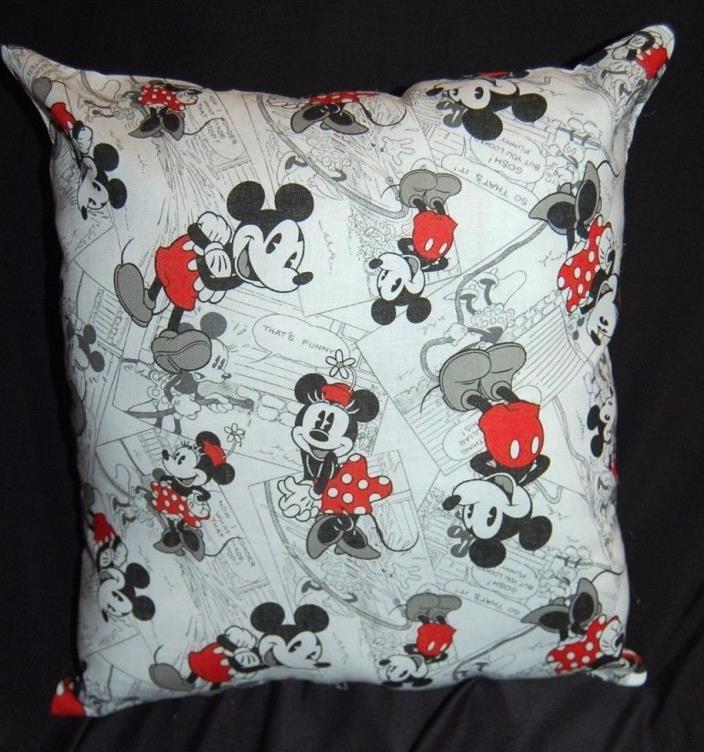 NEW HANDMADE DISNEY MICKEY MOUSE/ MINNIE  TRAVEL/ TODDLER BLACK & WHITE PILLOW