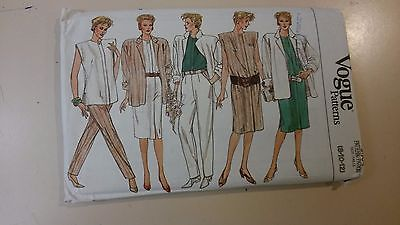 Vogue Pattern 9504 Vintage Misses' Jacket, Dress, Top, Skirt & Pants 8-12 UNCUT