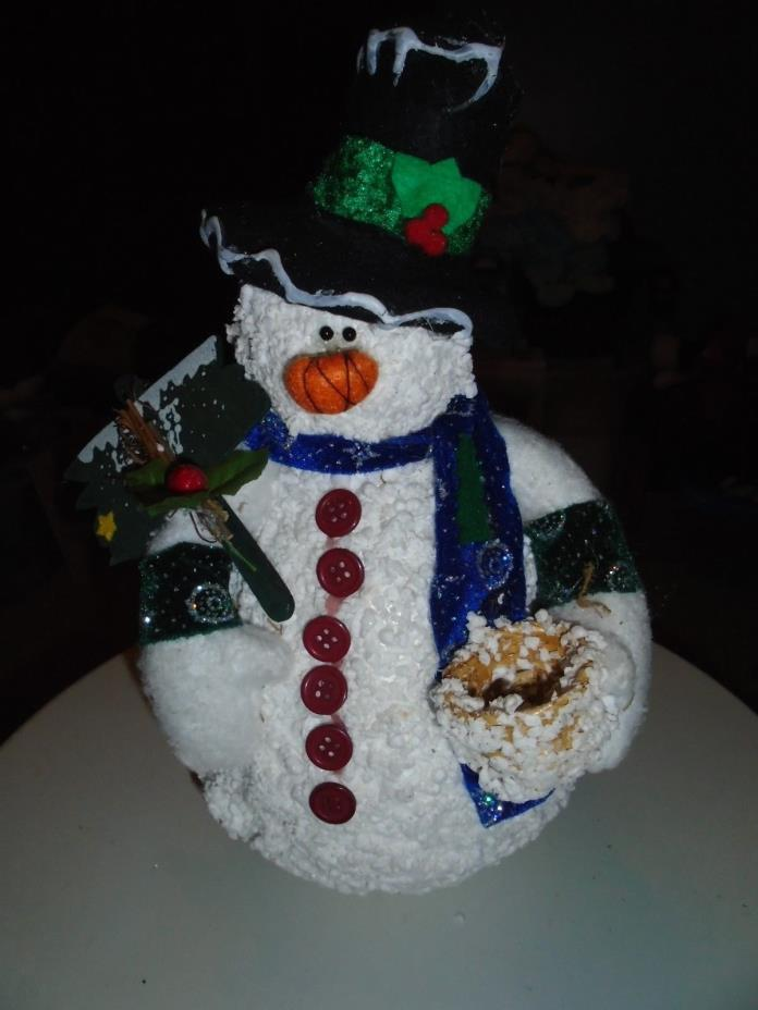 Vintage SNOWMAN  13 INS TALL, FELT HAT, BODY SNOW BUBBLES, BUTTONS,SIGN
