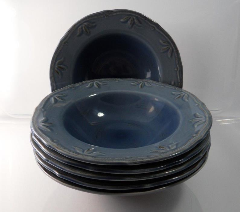 Thomson Pottery China Sicily Blue Soup Plates Set of 06 Pcs.