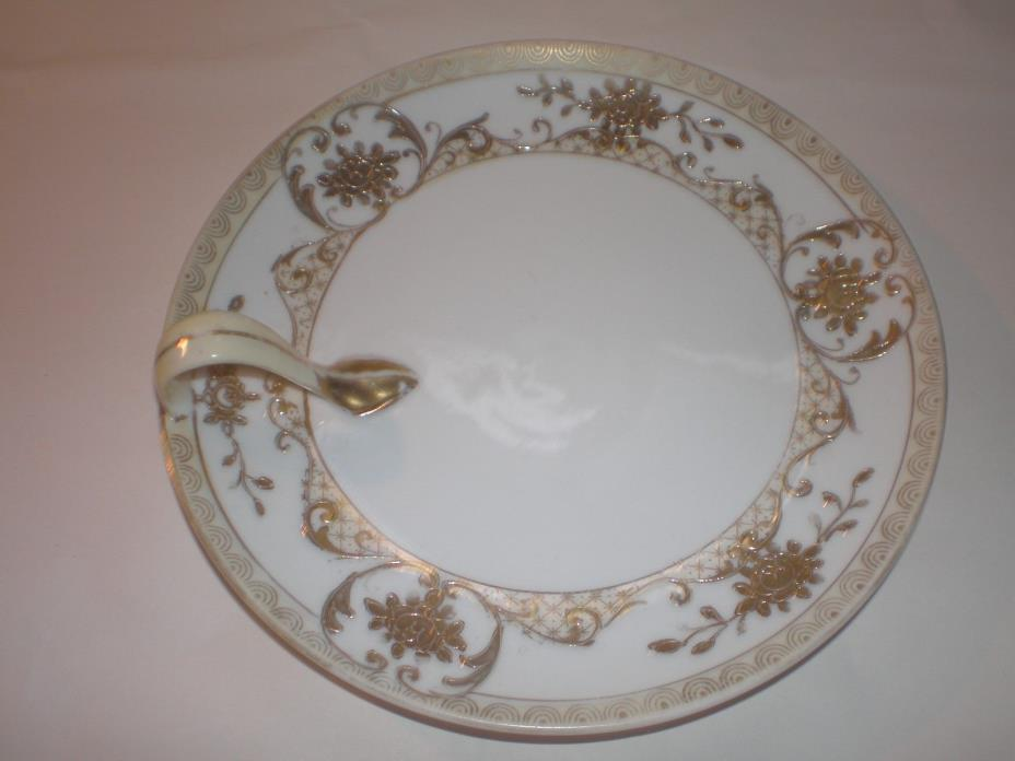 ANTIQUE HAND-PAINTED NIPPON RAISED GOLD TRIM CANDY DISH