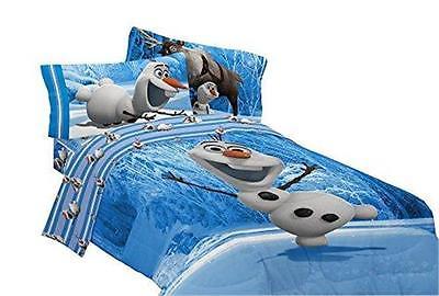 ;.NEW DISNEY FROZEN OLAF TWIN SIZE COMFORTER BLUE 64 IN X 86 IN BEDDING KIDS