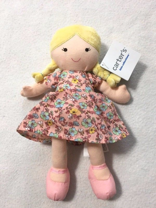 NWT Carters Little Collections Plush Blonde Doll Pink Floral Dress Braids Baby