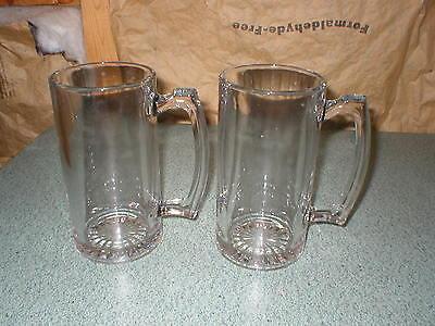 TWO 24 OZ GLASS BEER MUGS STAR BOTTOM 7
