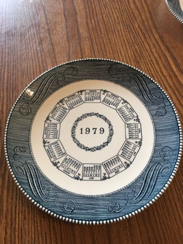 Royal China Currier Ives Style 1979 Calendar Plate Blue & White Marked