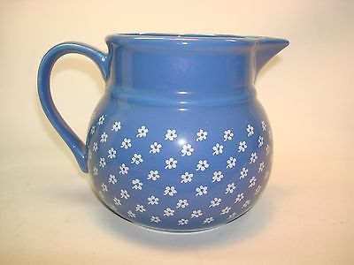 Vintage Sodahl Denmark Pitcher Blue with White Flowers