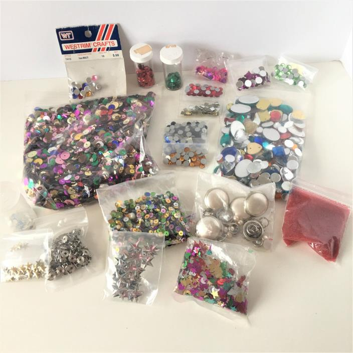 Mixed Lot of Sequins For Crafts Blue Yellow Orange Silver Moon Stars Hearts