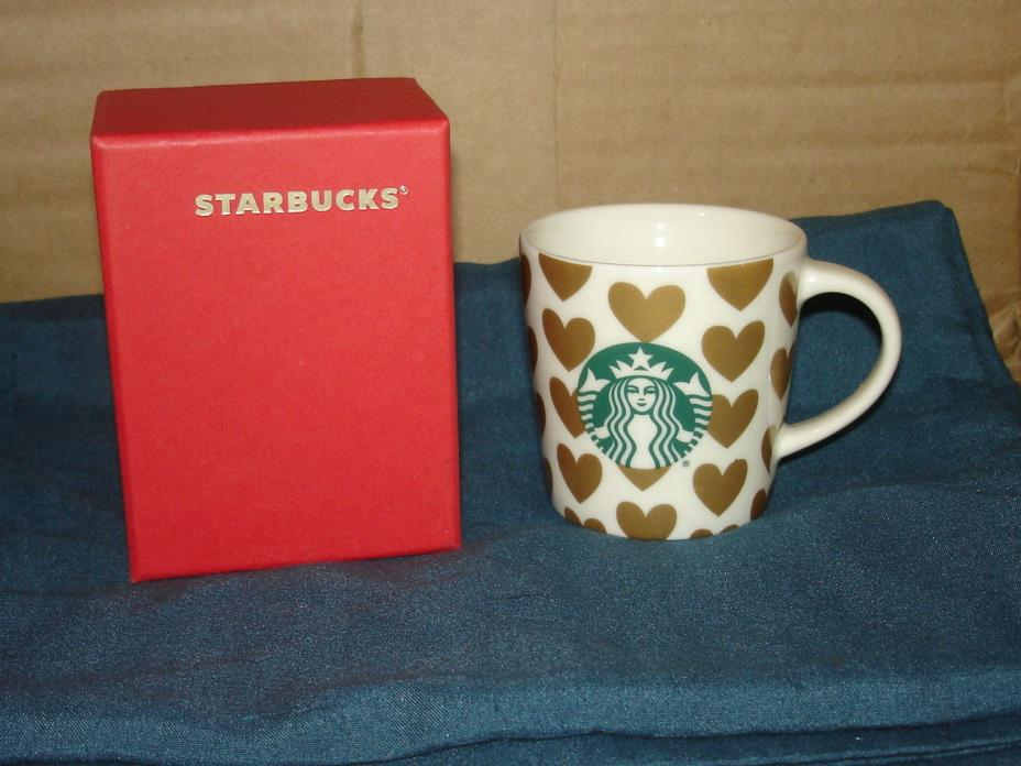 STARBUCKS  2015 CHRISTMAS GOLD HEARTS CERAMIC 3 OUNCE ESPRESSO CUP W/BOX  NWTS