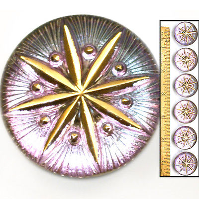 Reduced! 27mm Vintage Czech Glass LAVENDER Mirror Back 3-D Gold Star Buttons 6p
