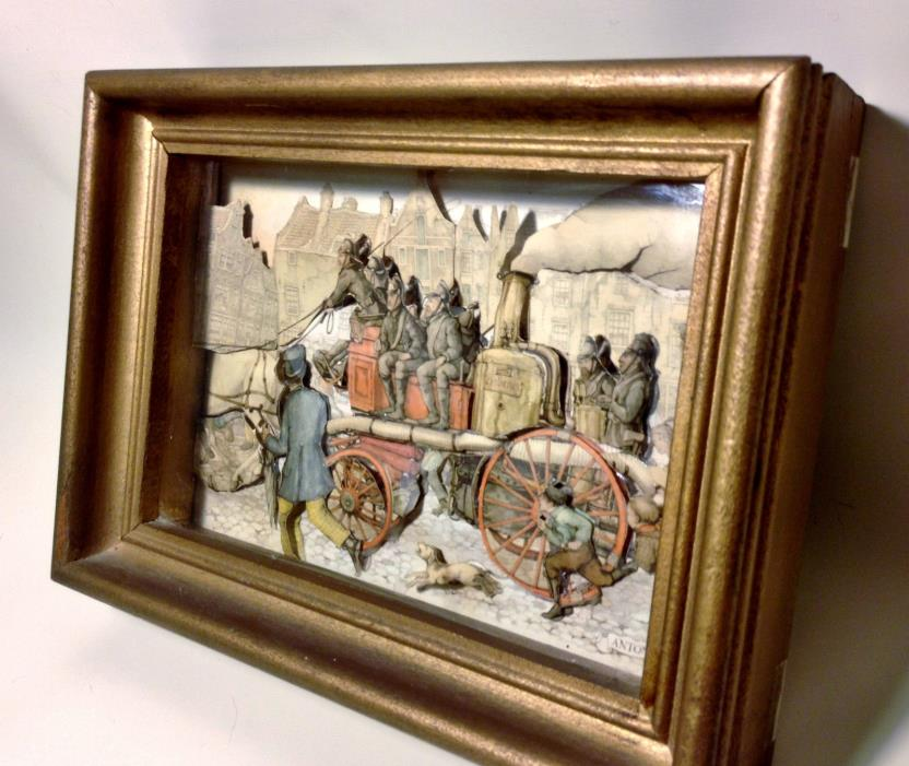Vintage Anton Pieck Cerberus Horse Drawn Fire Wagon 3D Shadow Box Holland Art