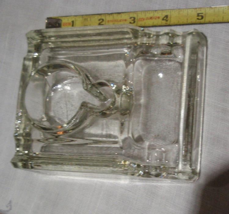vintage pressed glass desktop inkstand clear old original for bottle or inkwell