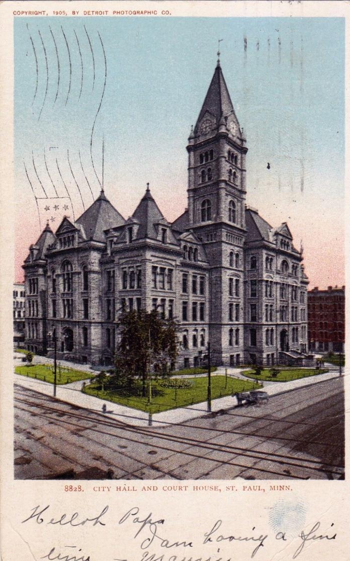 POSTCARD - City Hall and Court House, ST. Paul, Minn.