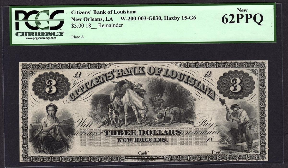 1800's $3 Citizens' Bank New Orleans LA PCGS 62 PPQ with Deer Hunters Scene