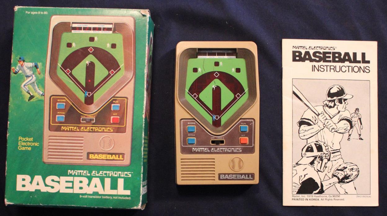 Original 1978 Mattel Electronics Handheld Baseball with Box/Instructions Tested