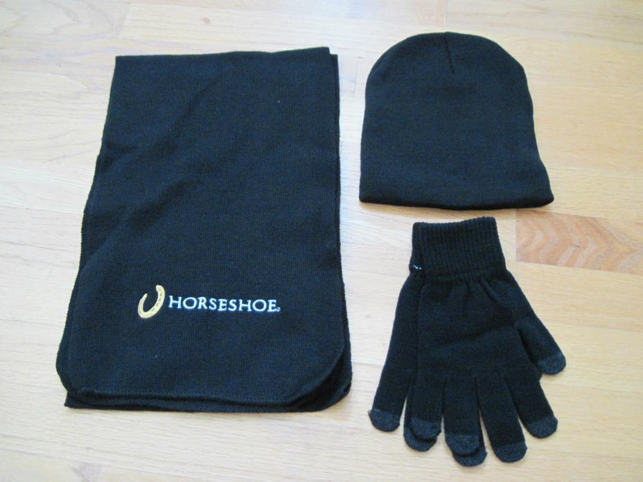 New - Beanie Scarf and Touchscreen Gloves Knit Set – Black