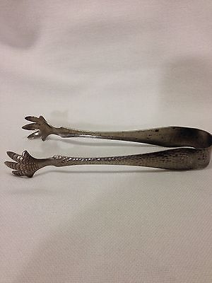 Vintage Hammered Aluminum Claw Foot Ice Tongs 1950's