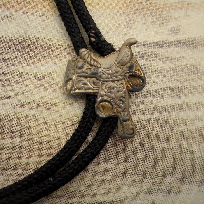 Distressed Horse Saddle Bolo Tie Country Western Rockabilly Necklace Unisex