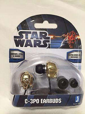 Star Wars Earbuds C3PO,  3.5 MM corded Headphones by Jazwares, NEW.
