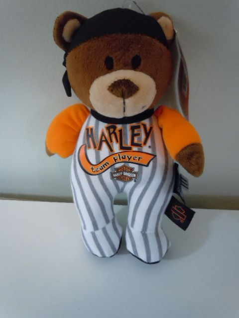 Harley-Davidson Plush Bear Soft Baby Toy Rattle Black Bandana 8