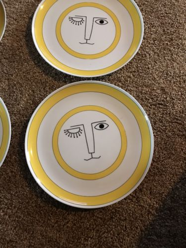 4 Taste Setter Collection 1970's Sun Face Dinner Plates 10