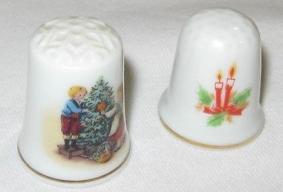 Vtg 2 Porcelain CHRISTMAS THIMBLEs, Decorating the Tree Avon 1982, CANDLES Gold