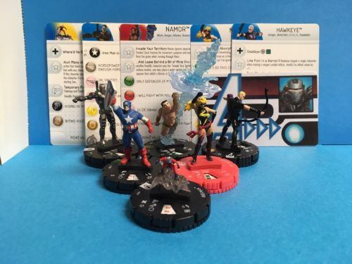 Heroclix Marvel Super Rare Namor 054  Ant-Man 003 Captain America 020 War Machin