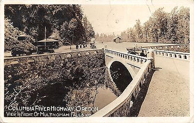 Columbia River Highway Oregon~Bridge by Multnomah Falls~Classic Cars~1918 RPPC
