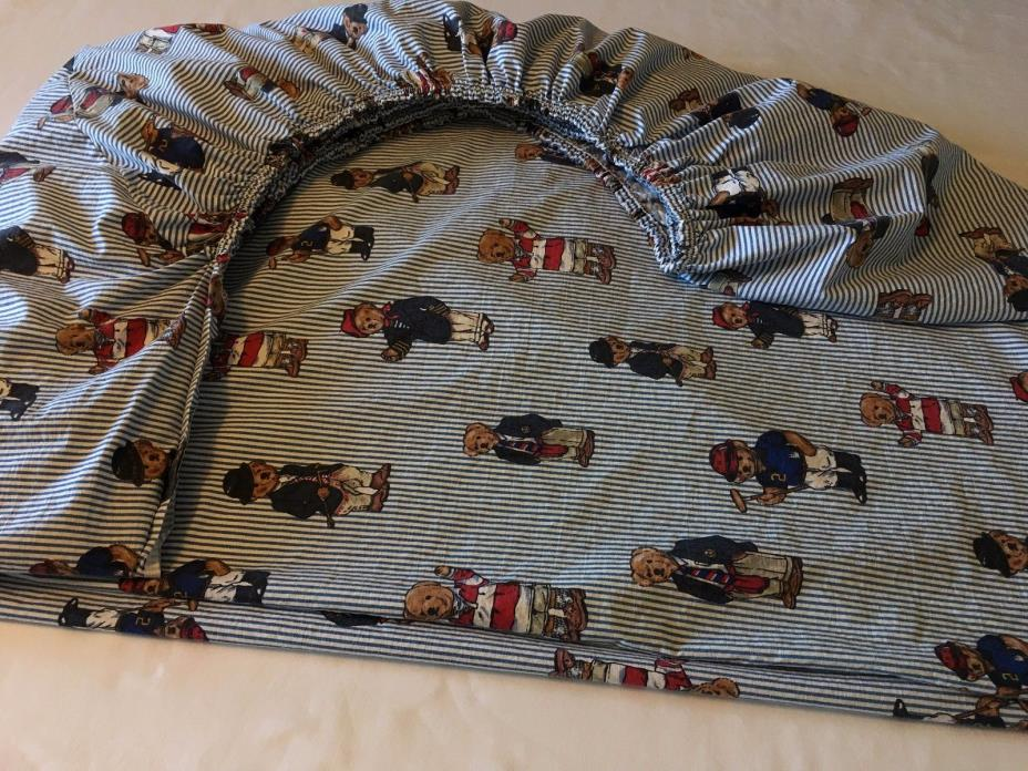 Ralph Lauren Sheet, Polo Bears, Striped, Twin Fitted, EUC