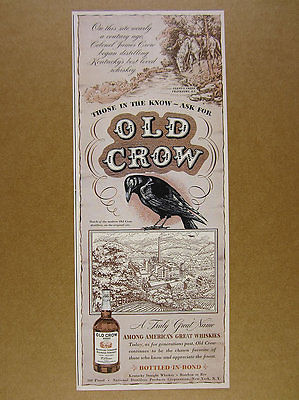 1942 Old Crow Bourbon black bird distillery art vintage print Ad