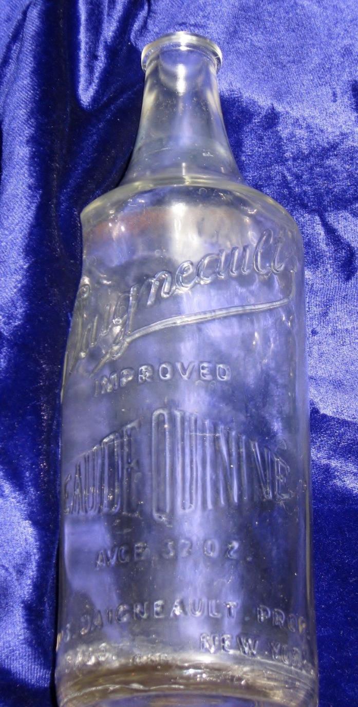 Vtg Daigneaults Improved EauDe Quinine BOTTLE 32oz Illinois Glass 1915-29