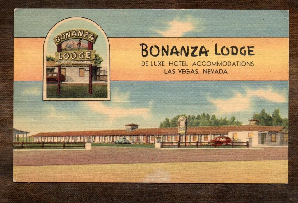 1940's Bonaza Lodge ~ Las Vegas Nevada ~ Vintage Postcard