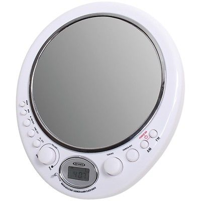 Jensen Am And Fm Alarm Clock Shower Radio With Fog-resistant Mirror