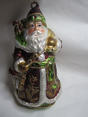 DILLARDS~ BLOWN GLASS SANTA~ RED~NEW IN BOX