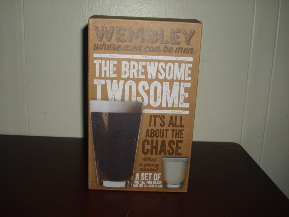 **New** Wembley Brewsome Twosome Boiler Maker Pint & Shot Glass Set