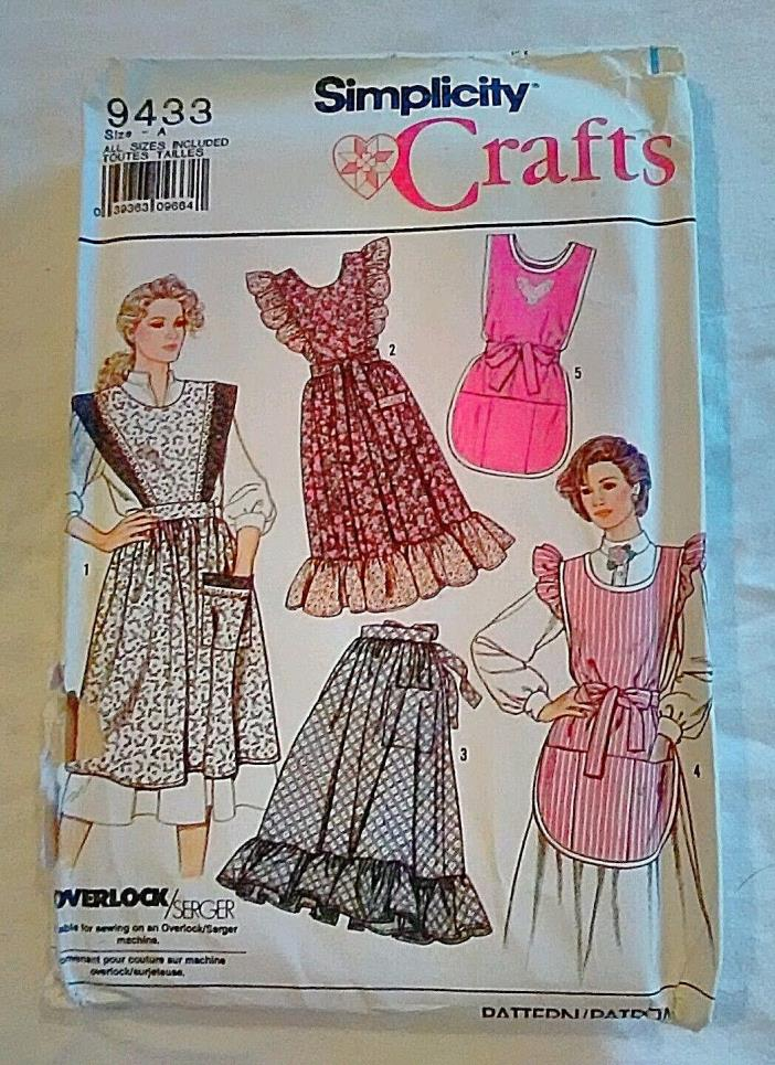 Uncut Simplicity 9433 Misses Aprons small - med & large - Xlarge Sewing Pattern