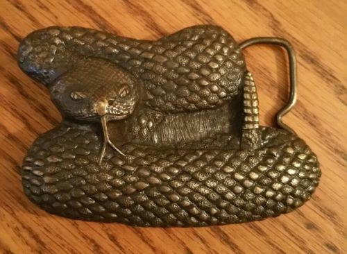 Vintage USA 1976 Bergamot Brass Works Arroyo Grande Rattle Snake Belt Buckle