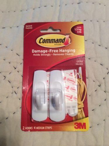 3M Command Brand 3 Lb Utility Hooks 2 Medium Hooks 4 Medium Strips 17001 White
