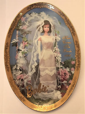 BARBIE HERE COMES THE BRIDE 1966 COLLECTORS PLATE MATTEL 1995 NUMBERED