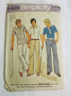 Vtg SIMPLICITY stretch Knit Pattern MEN'S Shirt PANTS sz 42 16 neck 36 waist