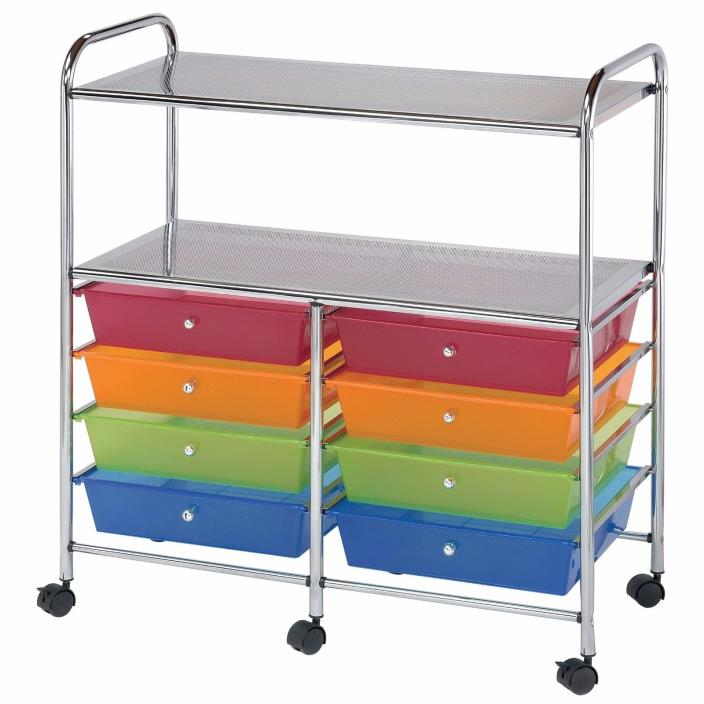 Portable Storage Cart Rolling With Drawers Shelf Two 8 Multi Colored Wide Best