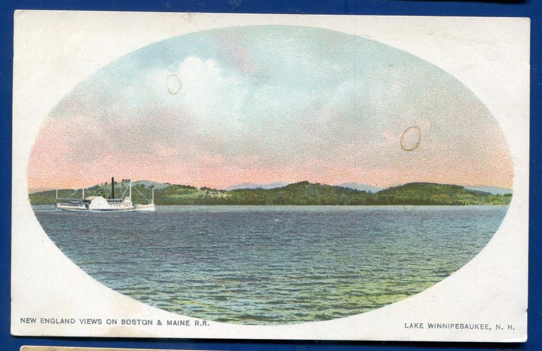 Lake Winnipesaukee New Hampshire New England view Boston Maine Railroad postcard