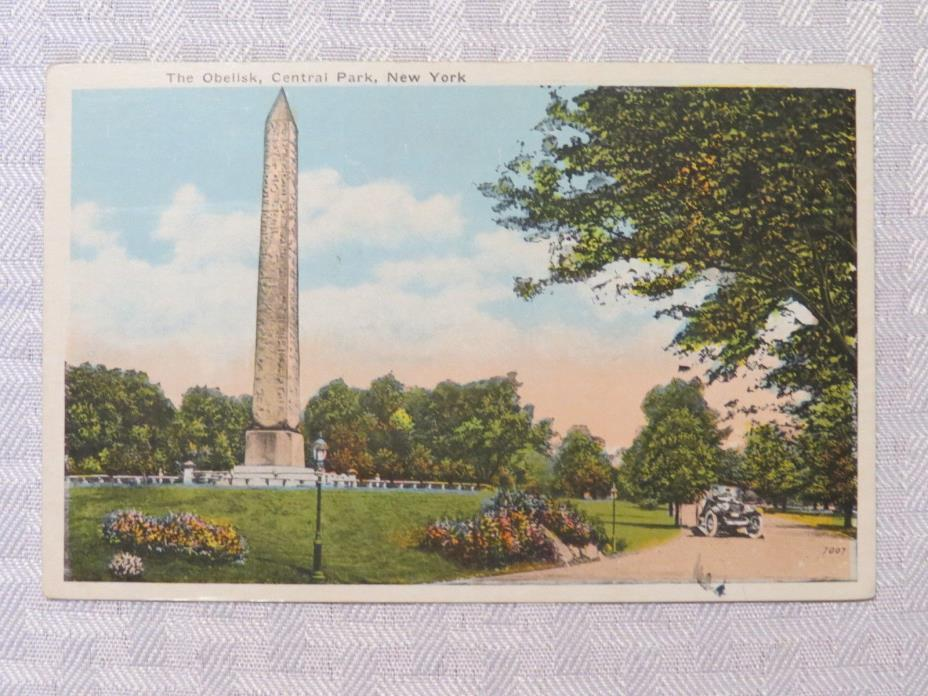 ST74 - New York City NY NYC postcard - Obelisk Cental park 1920s