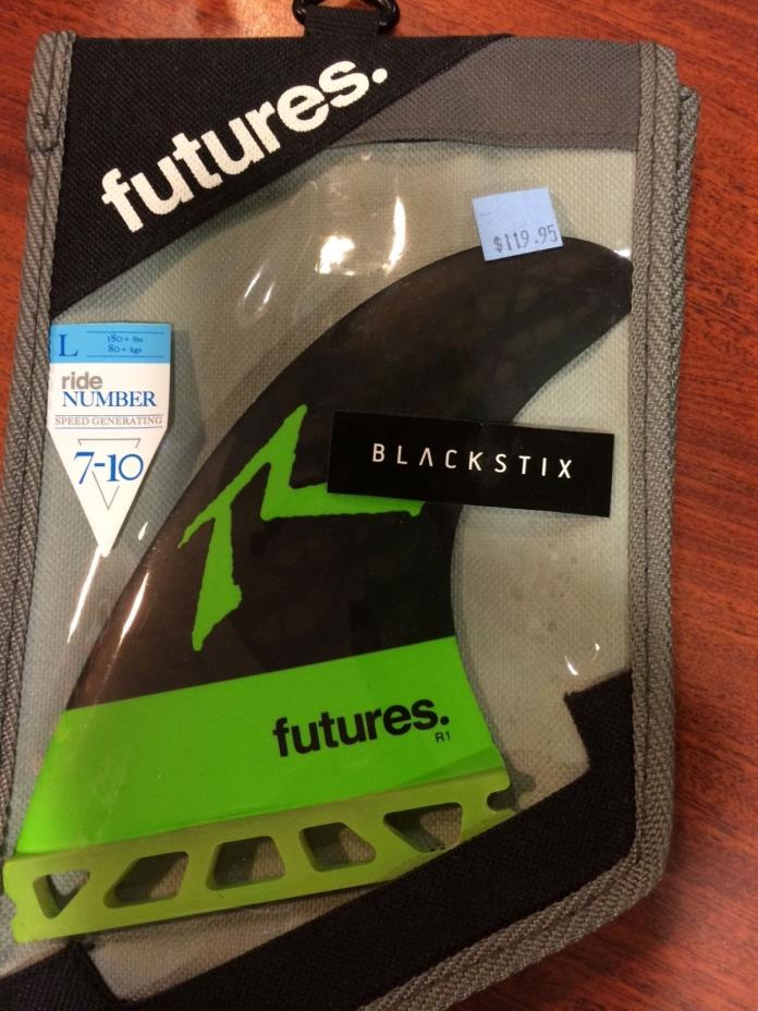 future  tri fin set size large  Black stix neon green and black rusty