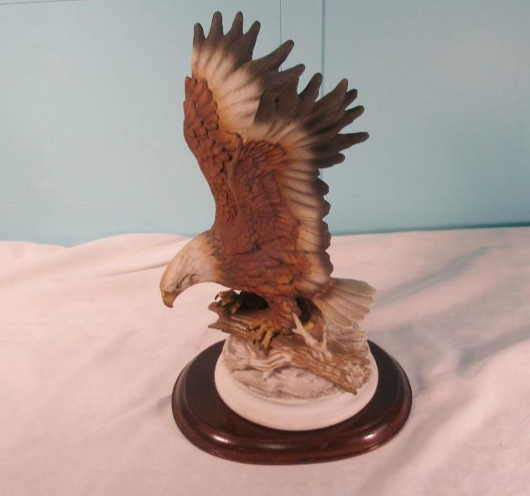 Vintage Porcelain Eagle Figurine, Masterpiece By Homco With Wood Base, 1979