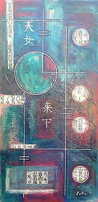 ORIGINAL ABSTRACT GEOMETRIC ORIENTAL TEXTURED PAINTING ON CANVAS by KADAVIS ART