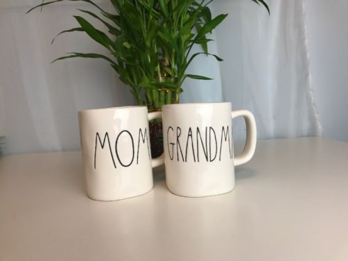 New RARE RAE DUNN By Magenta Set 2 Clay MOM GRANDMA Mothers Day MUGS