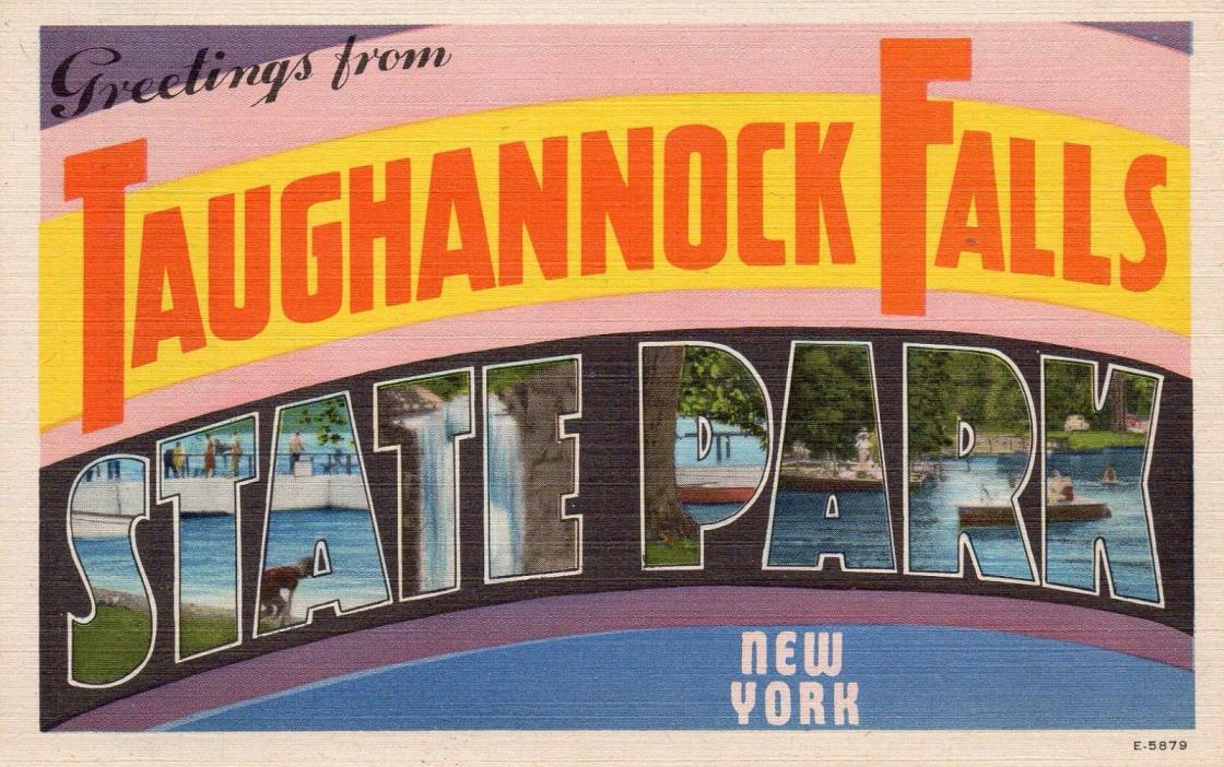 Greetings from Taughannock Falls NY postcard WM. Jubb Large letter unused E-5879
