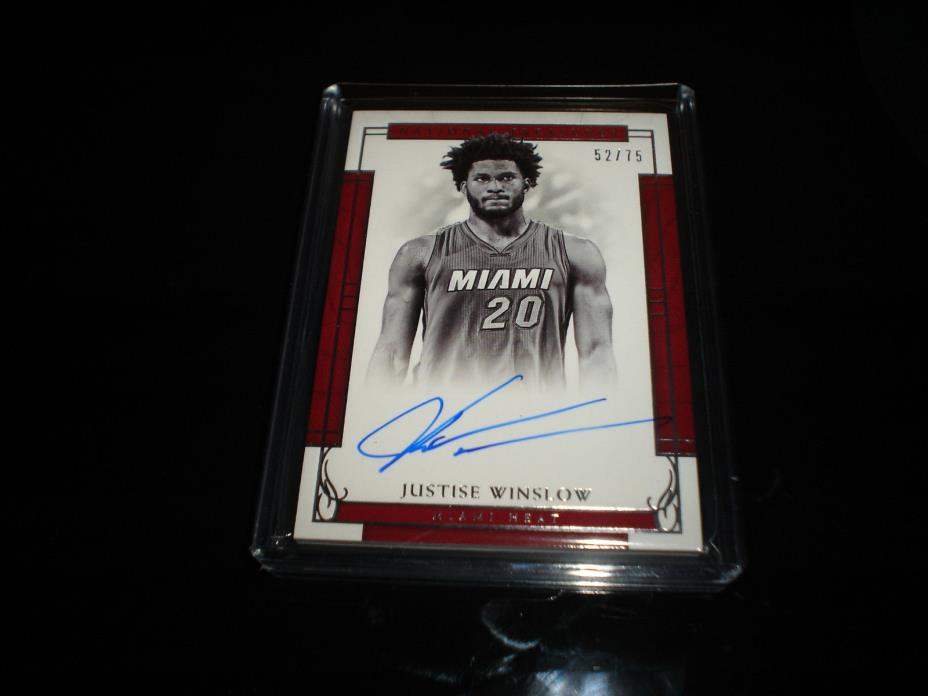 2016-17 National Treasures Justise Winslow Heat On Card Auto 52/75