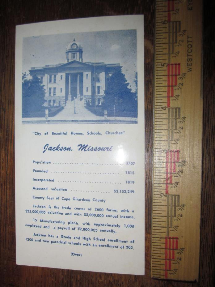 Vintage Jackson Missouri Chamber of Commerce Handout with Map Courthouse