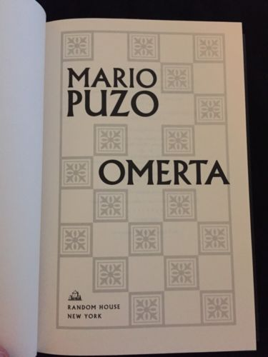 MARIO PUZO-OMERTA FIRST EDITION 2000 RARE COLLECTIBLE